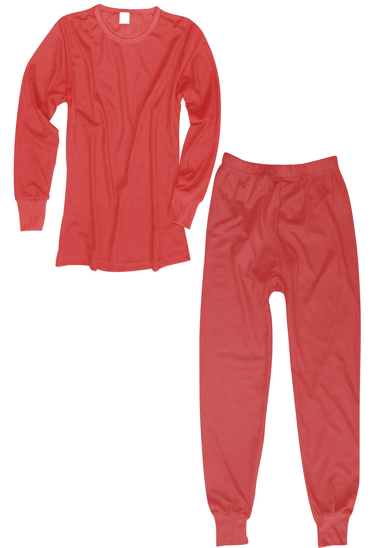 Peach Couture 100% Cotton Womens Waffle Knit 2 Pcs - Top & Bottom Thermal Set