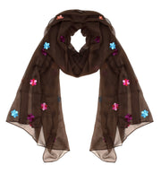 Womens Lightweight Summer Scarf Embroidered Accent Shawl