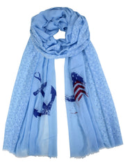 Nautical Anchor and Dainty Heart Print Light weight Summer Scarf