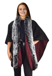 B9006-Belted-Poncho-BlckRed-OS