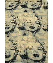 Vintage Chiffon Feel Marilyn Monroe Design Scarf/wrap w/Silk Black Border