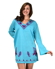 100% Cotton Embroidered Summer Tunics Beach Cover Ups