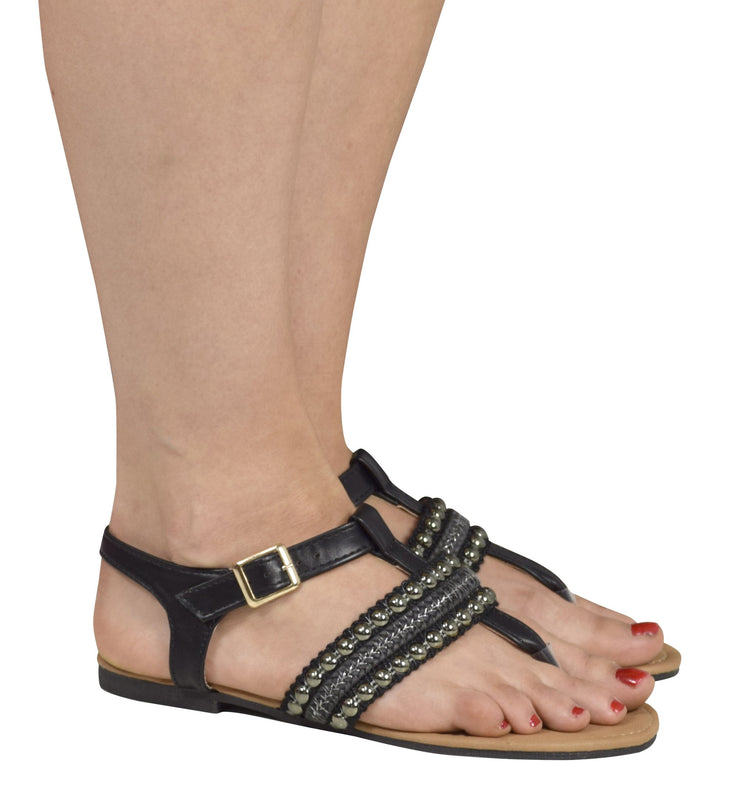 Pearl Studded Ankle Wrap Strappy Buckle Gladiator Sandals