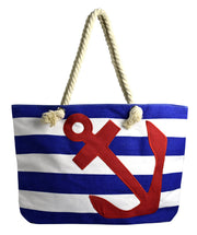 Peach Couture LARGE Nautical Anchor Print Bold Stripe Summer Purse Beach Bag Totes