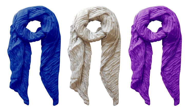 Silver, Purple, Royal Blue Peach Couture Solid Colorful Soft Crinkled Lightweight Versatile Wrap Scarf
