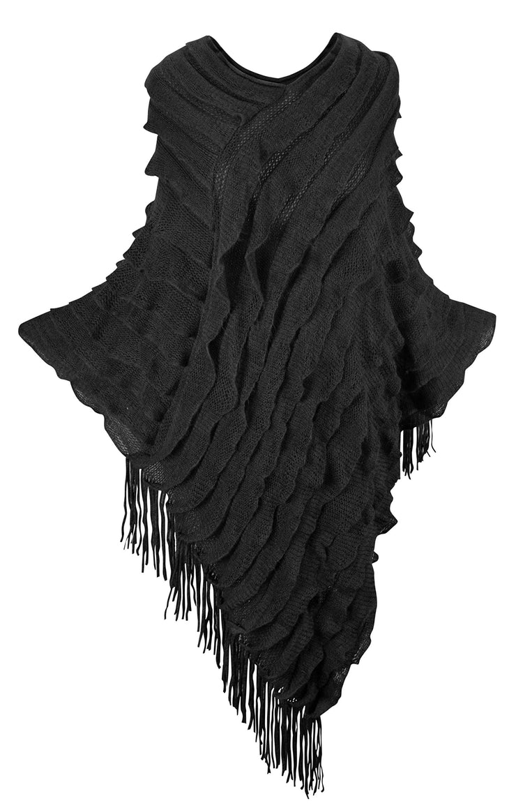 Women's Ruffle with Fringe Poncho