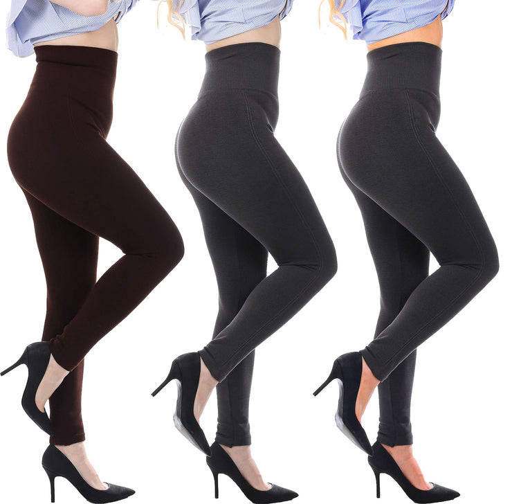High Waist Tummy Control Top Leggings, French Terry Lining