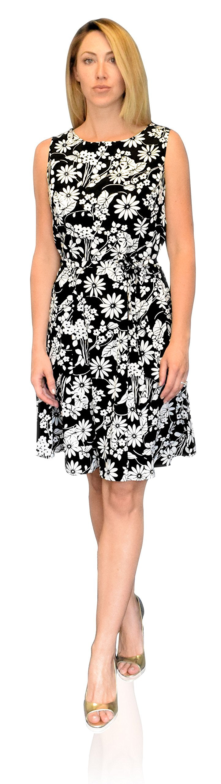 Silky Vintage Retro A Line Sleeveless Work Casual Belted Dress (Medium, Floral Black White)