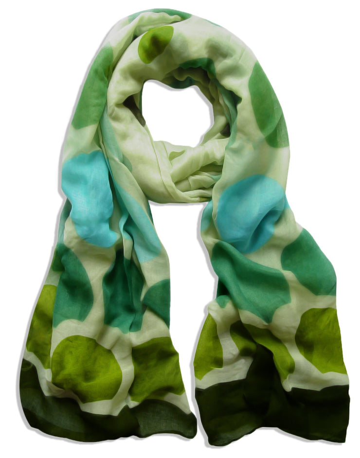 Olive Green/Forest Green Peach Couture Playful Modern Multicolored Polka Dot Scarf wrap shawl
