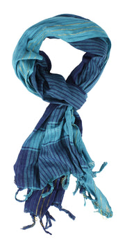100% Cottton Chic Striped Long Pashmina Feel Shimmer Shawl Scarves