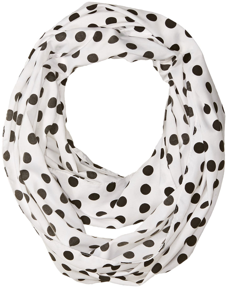 Peach Couture Light and Sheer Polka Dot Circle Print Infinity Loop Scarf