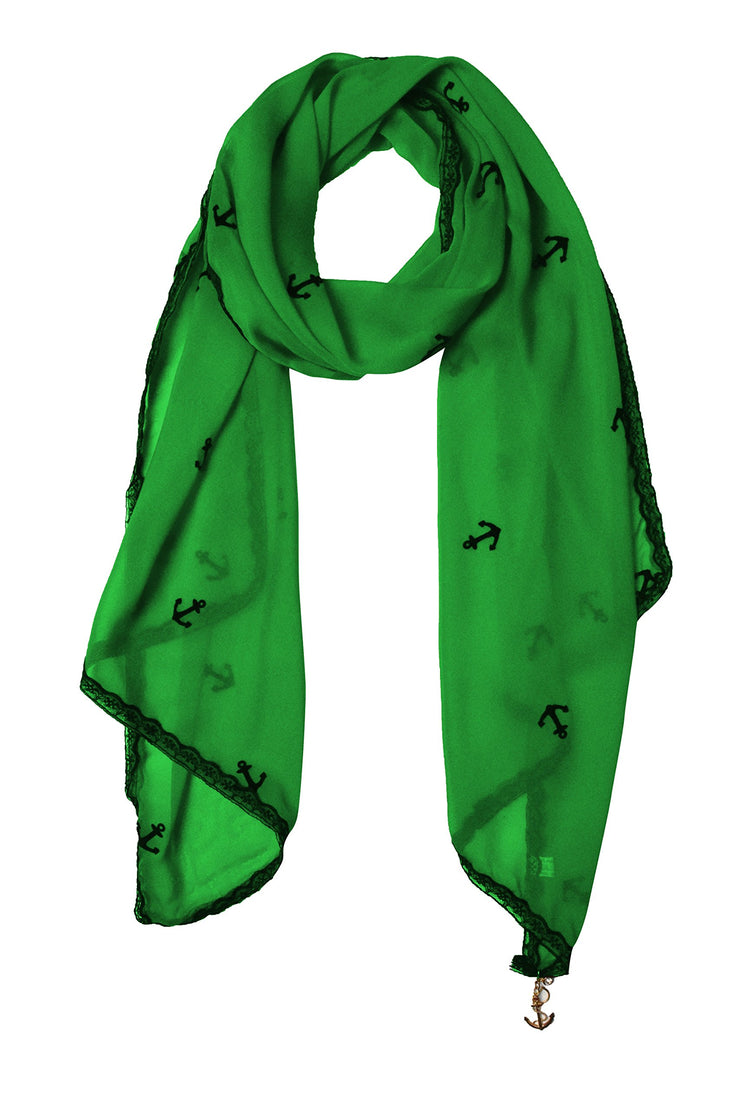Sheer Vintage Anchor Embossed Scarf with Anchor Charm & Lace Border(Green)