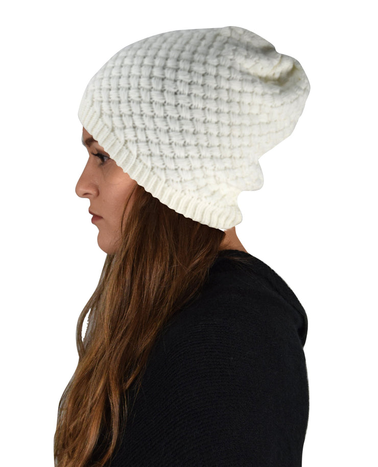 Thick Crochet Knit Double Layer Beanie Slouchy Hat