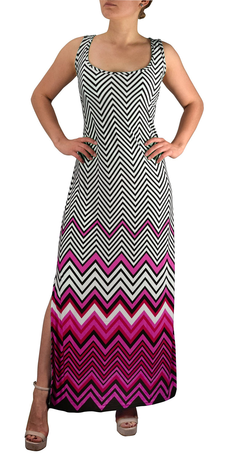 Womens Boho Maxi Striped Chevron Print Scoop Neck Tank Dress (Pink, Medium)