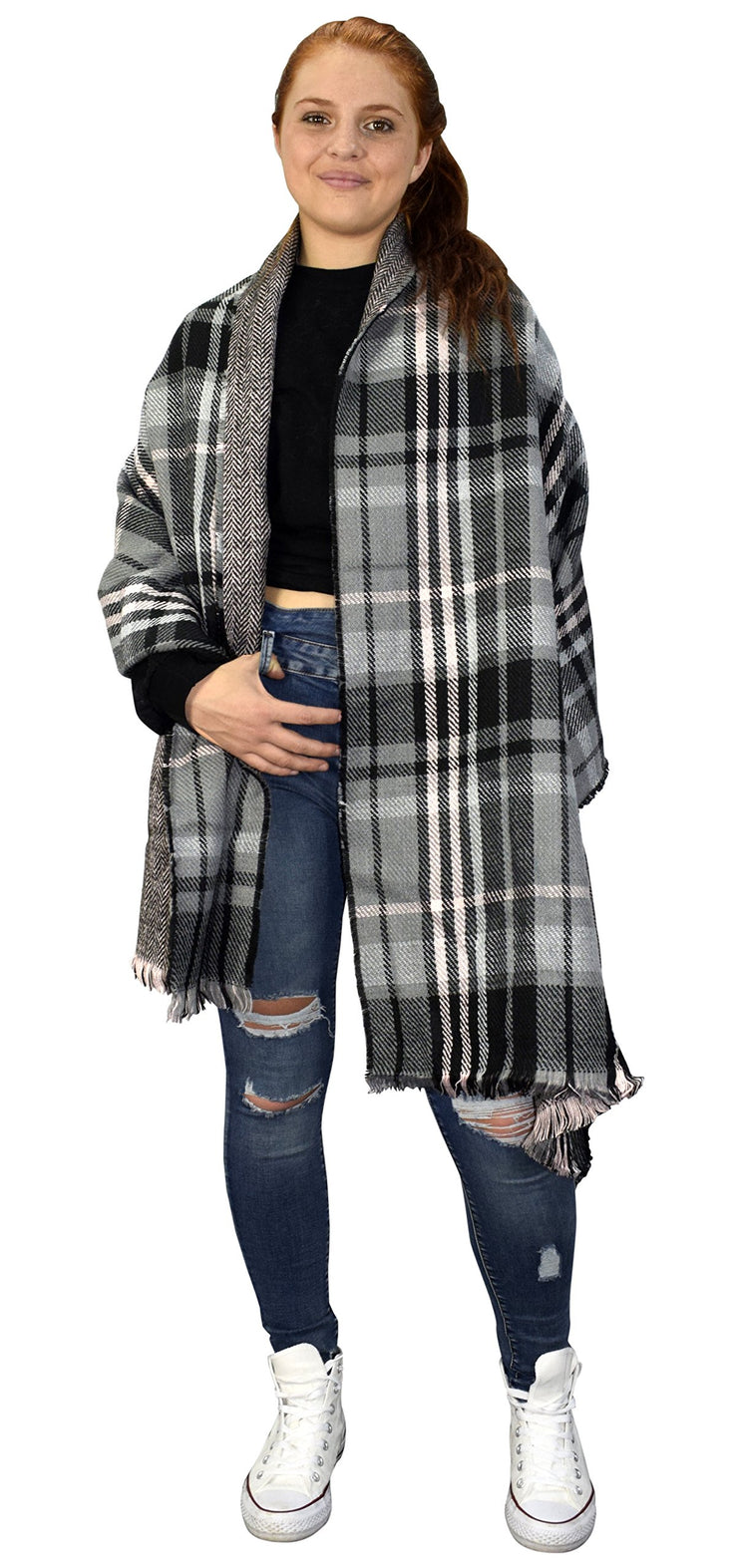 Plaid Tartan Herringbone Reversible Oversized Winter Blanket Scarf