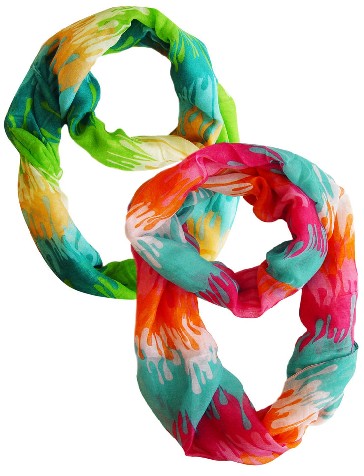 Green and Pink Orange Peach Couture Trendy Abstract Multicolored Paint Design Infinity Loop Scarf/wrap
