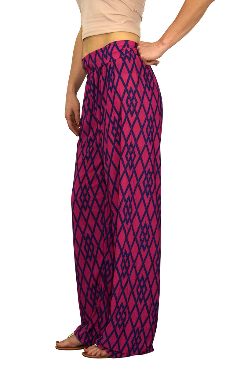 Peach Couture Womens Colorful Pattern Elastic Waist Printed Palazzo Pants