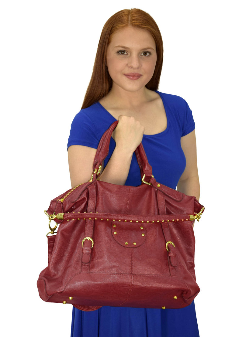 Womens Handbags with Metal Studded Embellishments and 3-in-1 handles