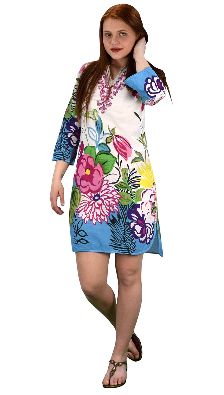 100% Cotton Bohemian Floral Summer Tunics Beach Cover Ups