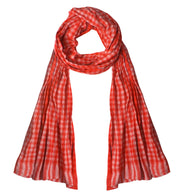 Peach Couture Unisex Stylish Checkered Plaid Crinkled All Season Cotton Scarf Wrap