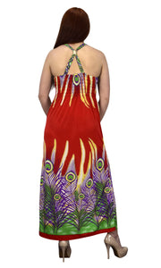 Floral Print Tropical Cinched Waist Maxi Dress