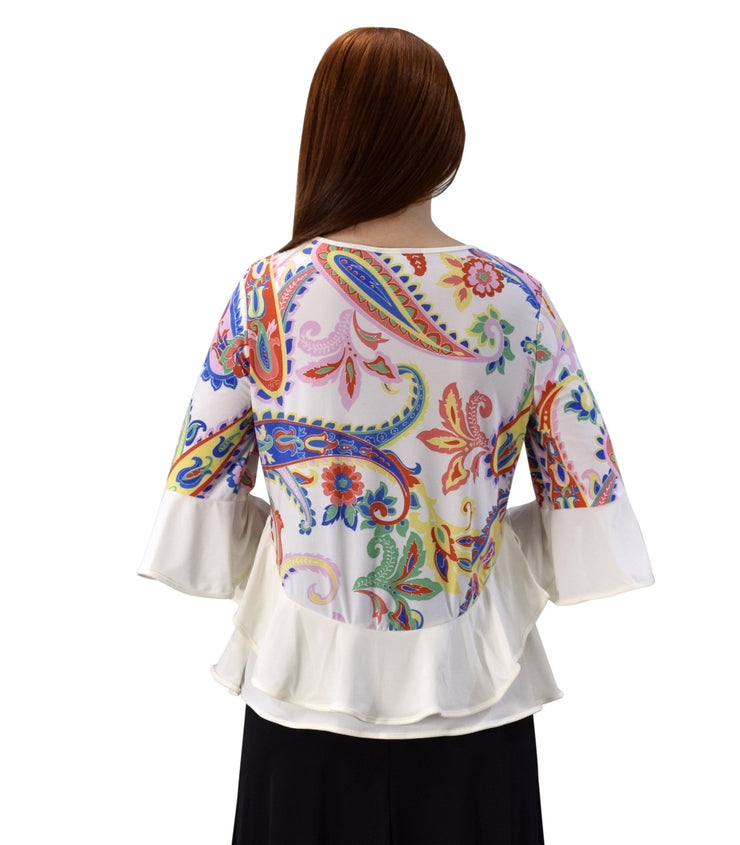 Womens Bell Sleeves Double Hem Keyhole Neck Floral Blouse Tops