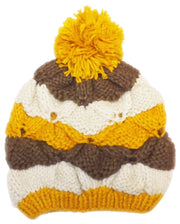 Peach Couture Knit Striped Cozy Warm Cable Knit Winter Crochet Cap Ski Hat Beret