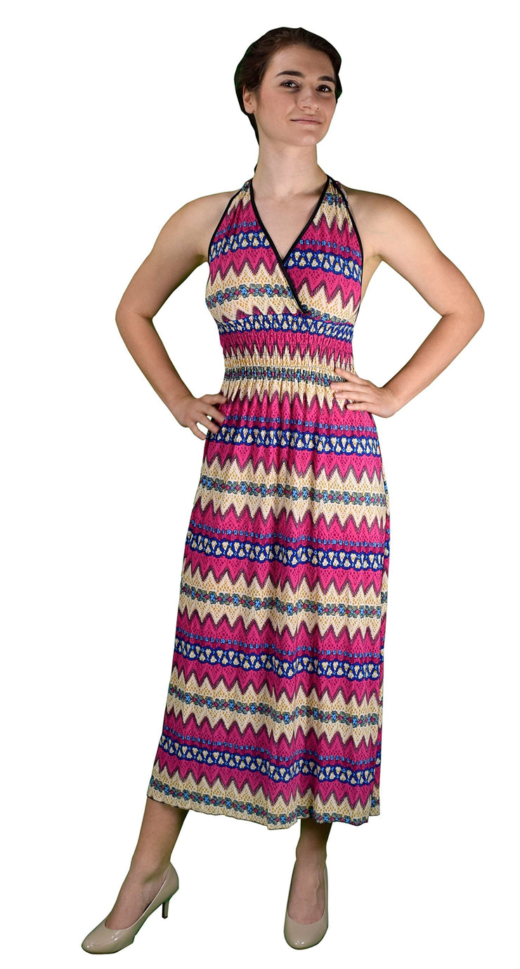A1821-Halter-Maxi-Dress-DeepPk-Lar-KL