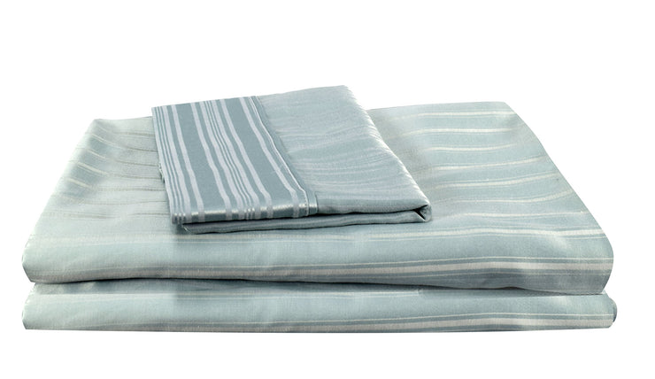 Couture Home Collection Vibrant Solid Colored 100% Cotton Sateen Stripe 400 Thread Count Iron Free Bed Sheet Set