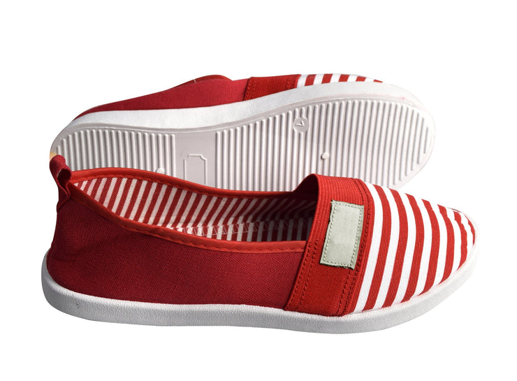 Striped Lightweight Canvas Classic Casual Slip On Shoes Sneakers (9.5, Red)