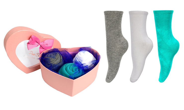 Women Rose Fold Bouquet Cotton Crew Socks Heart 3 Pair Pack Box