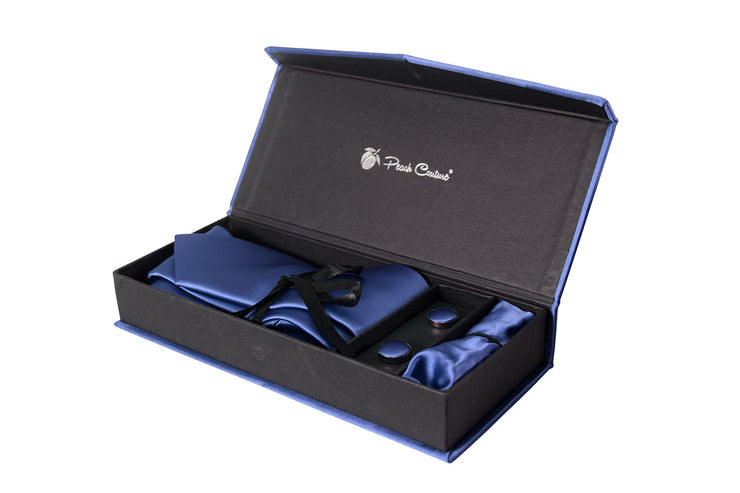 Men's Silk Feel Necktie Cufflinks Pocket Square Handkerchief Set