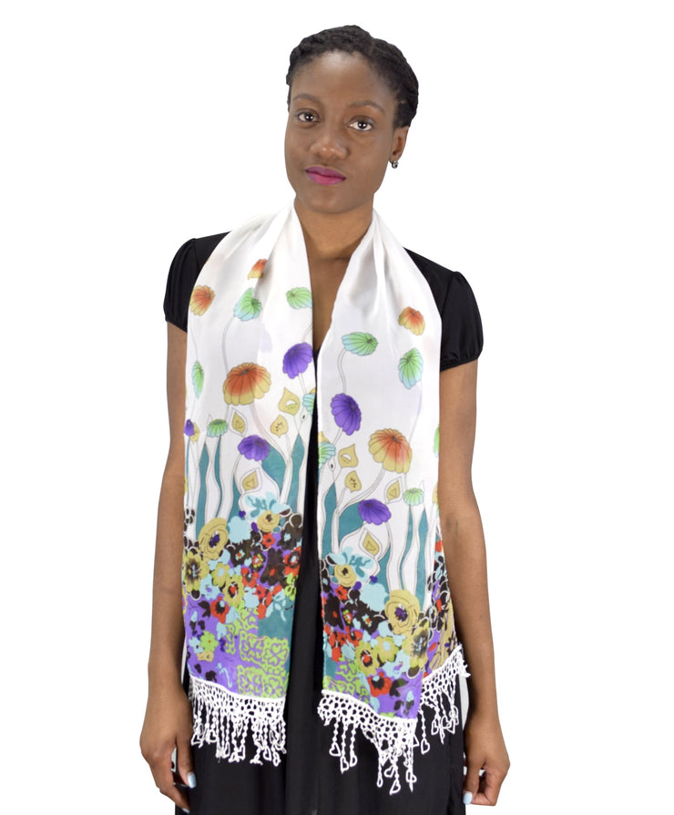 Summer Fashion Womens Sheer Floral Stole Tasseled Skinny Scarf Teal