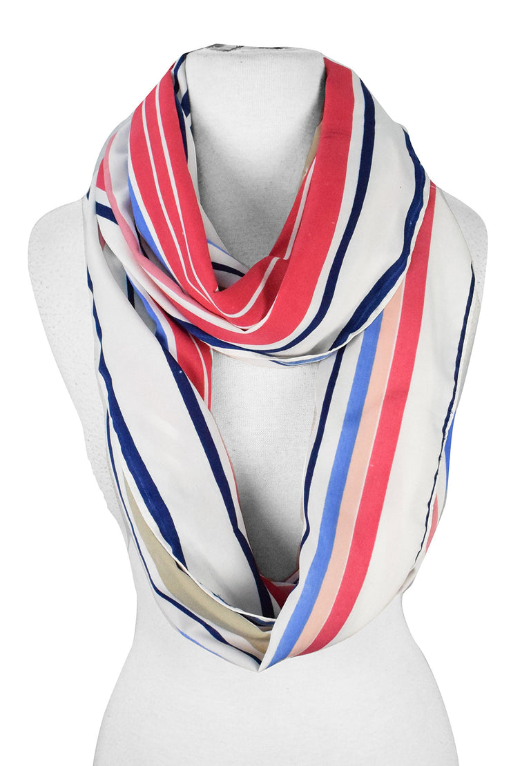 Peach Couture Sassy Stripes Vintage Style Multi Color Light Infinity Loop Scarf
