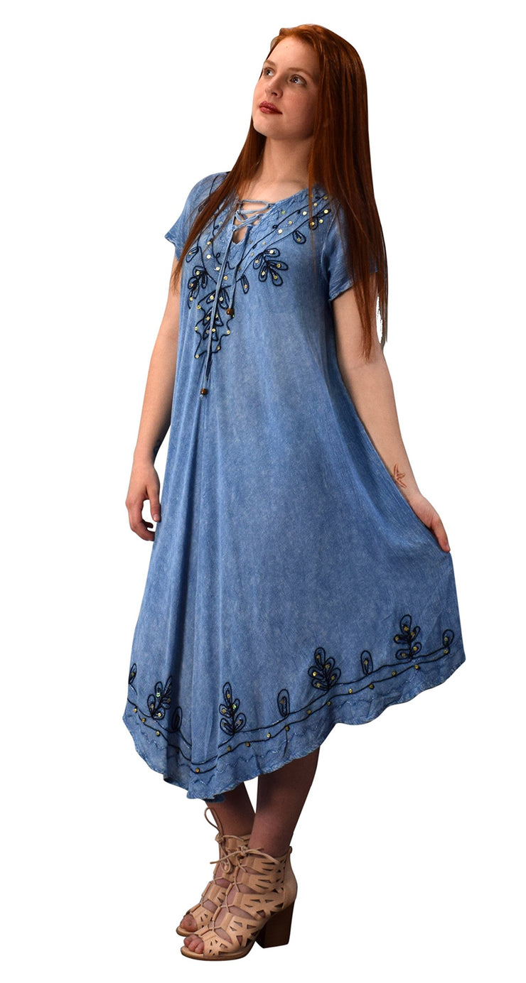 Classic Denim Uneven Hem Caftan Dress Long Tunic Cover Up