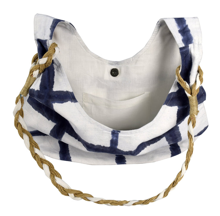 Cotton Canvas Rope Accent Handle Hobo Bags Beach Boat Bags