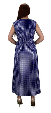 Polka Dot Ruffled V Neck Sleeveless Empire Waist Summer Maxi Dress