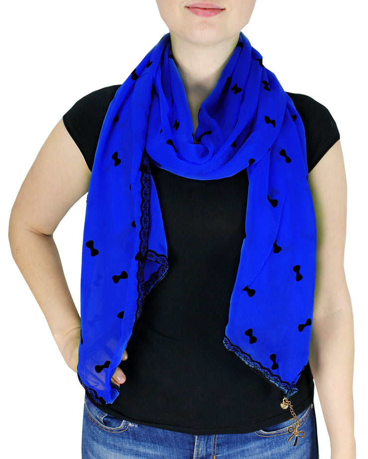 Dark Blue Bow Vintage Nautical Anchor Print Multi-color Scarf