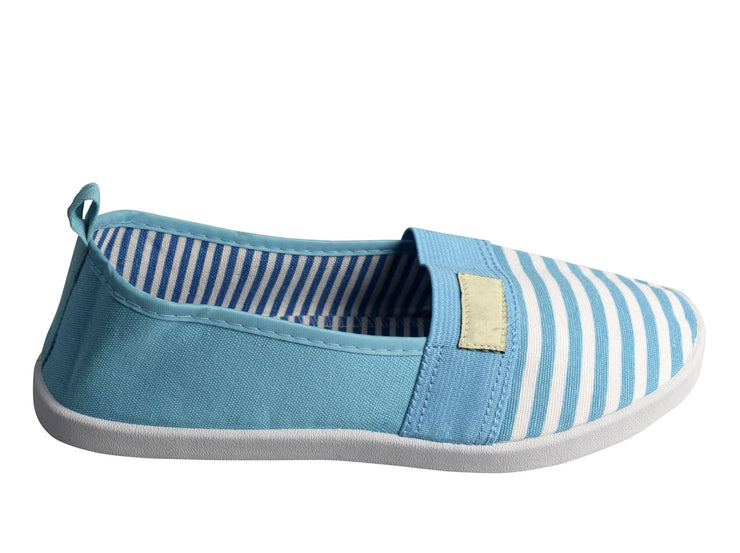 Striped Lightweight Canvas Classic Casual Slip On Shoes Sneakers (5, Blue)