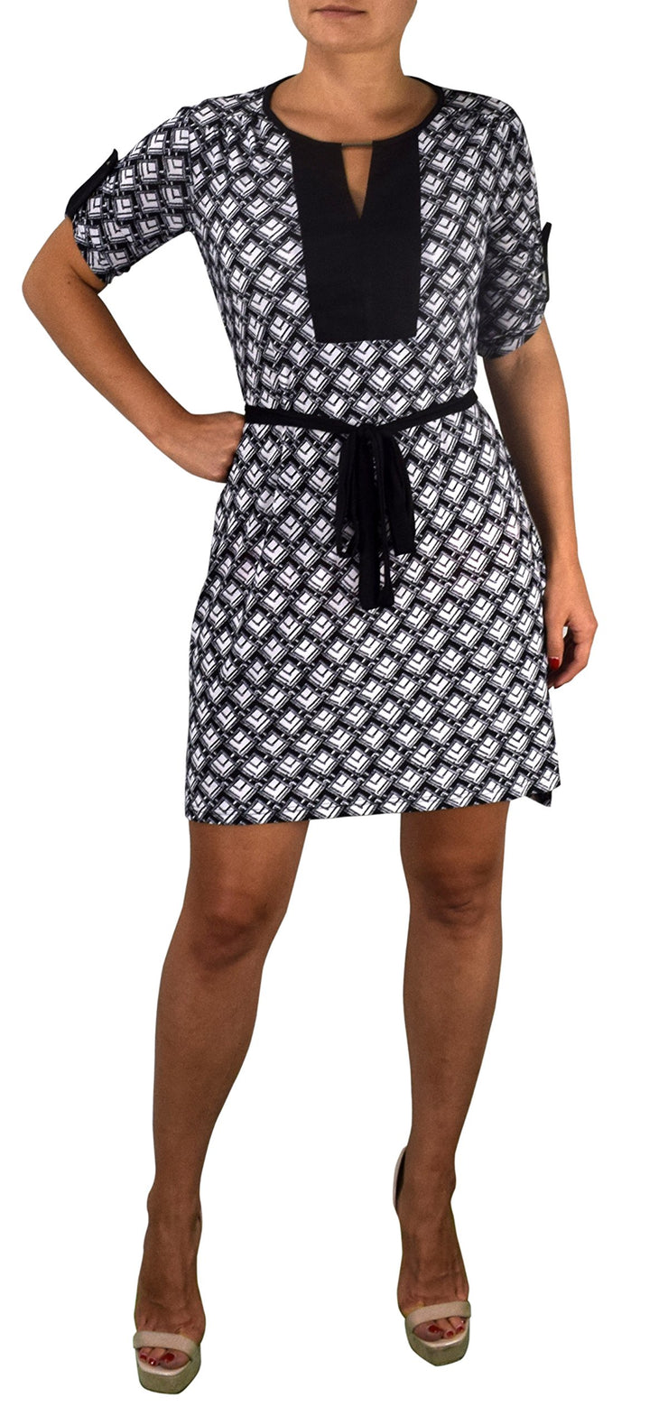 A2302-Hi-Lo-Shift-Dress-Sq-Blac-Med-KL