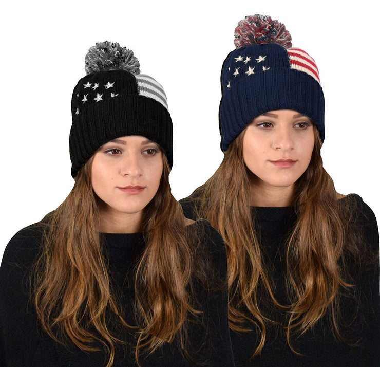 American Flag Pom Pom Hats Beanie Skullies Value Pack Of 2 (Navy Grey)