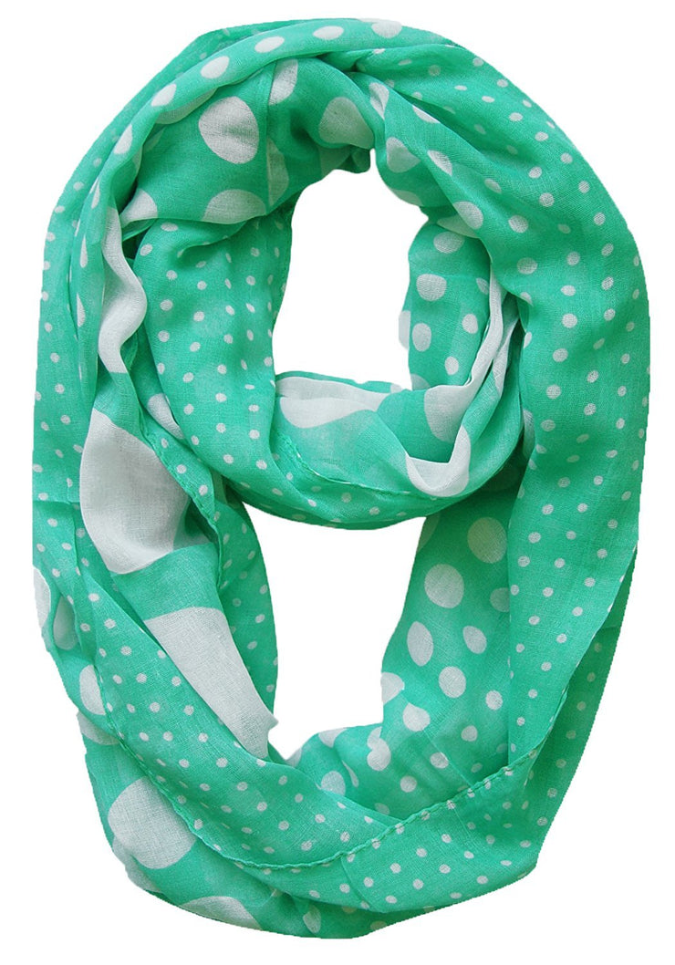 Mint Green Peach Couture Vintage Multicolored Classic Bright Polka Dot Infinity Loop Scarf