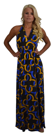 V-Neck Vintage Pattern Maxi Dress