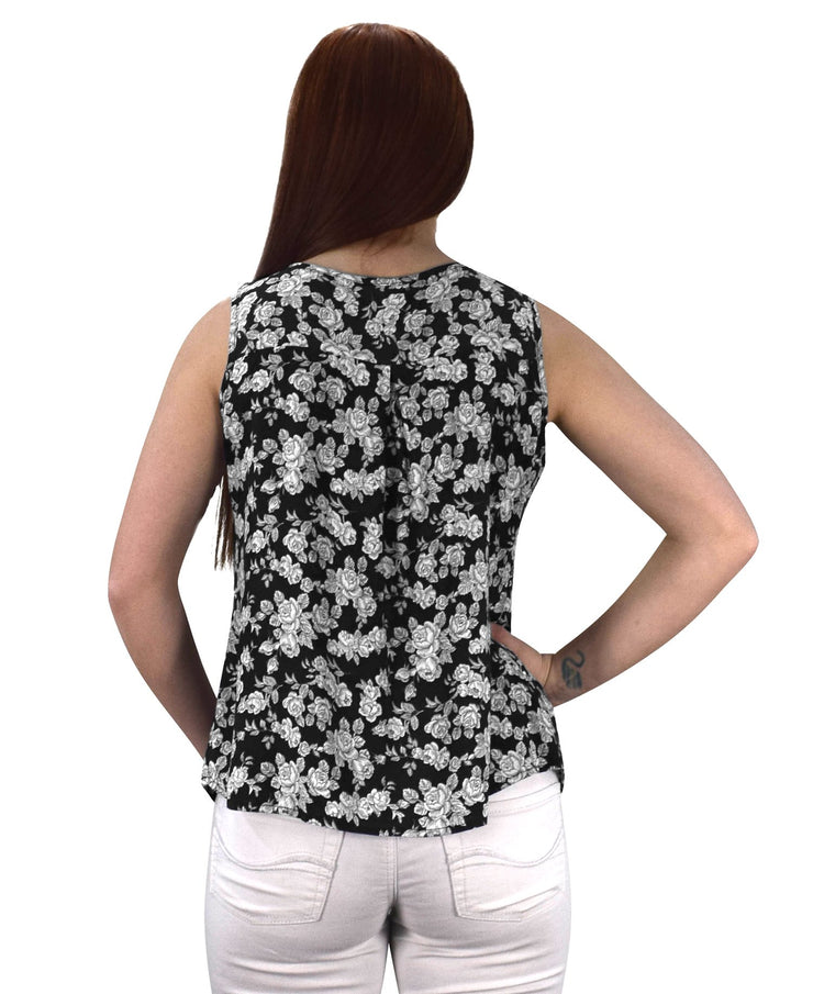 Two Tone Floral Rose Print Laced Neck Line Womens Top Blouse Shirt