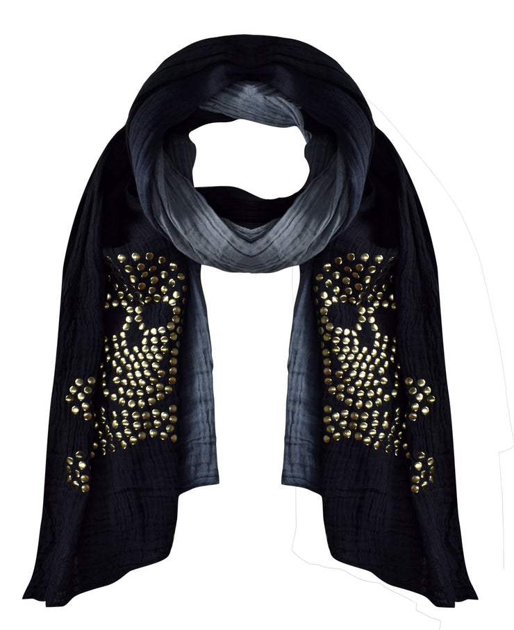 Black Peach Couture Womens Vintage Cotton Crinkled Ombrè Skull Studded Scarf Shawl