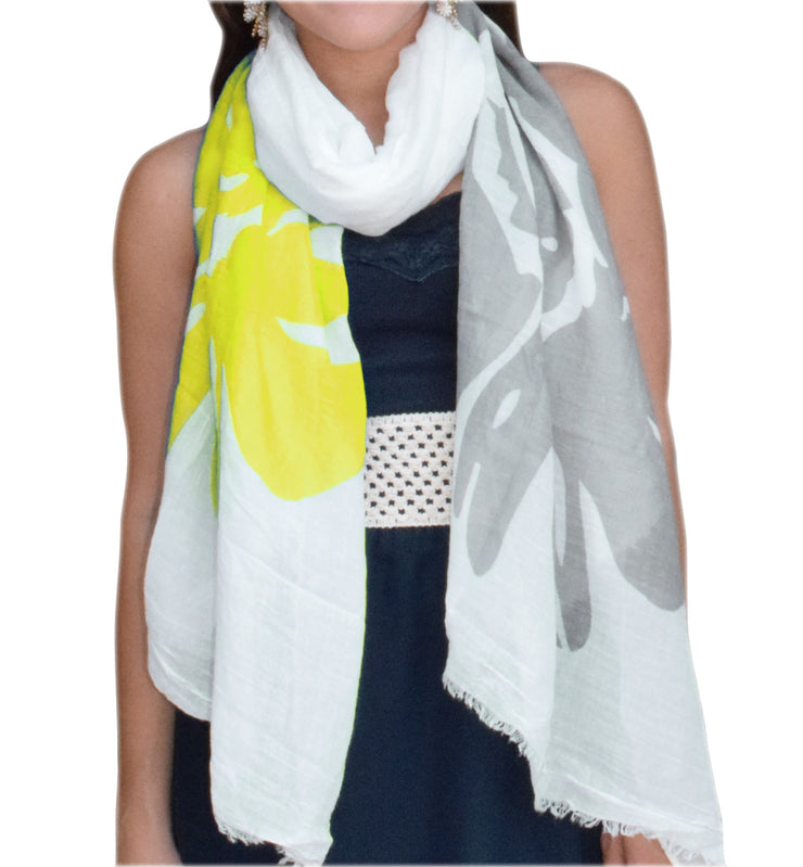 A5174-Abstract-Flower-Scarf-Yellow-KL