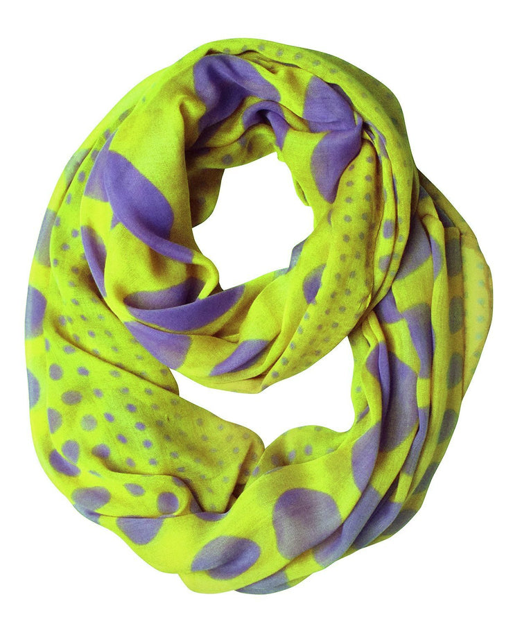 Lime and Purple Peach Couture Vintage Multicolored Classic Bright Polka Dot Infinity Loop Scarf
