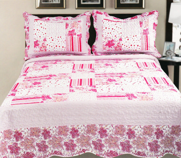Couture Home Collection Printed Floral Patterned Patchwork Quilt Comforter Set with Pillow Cases