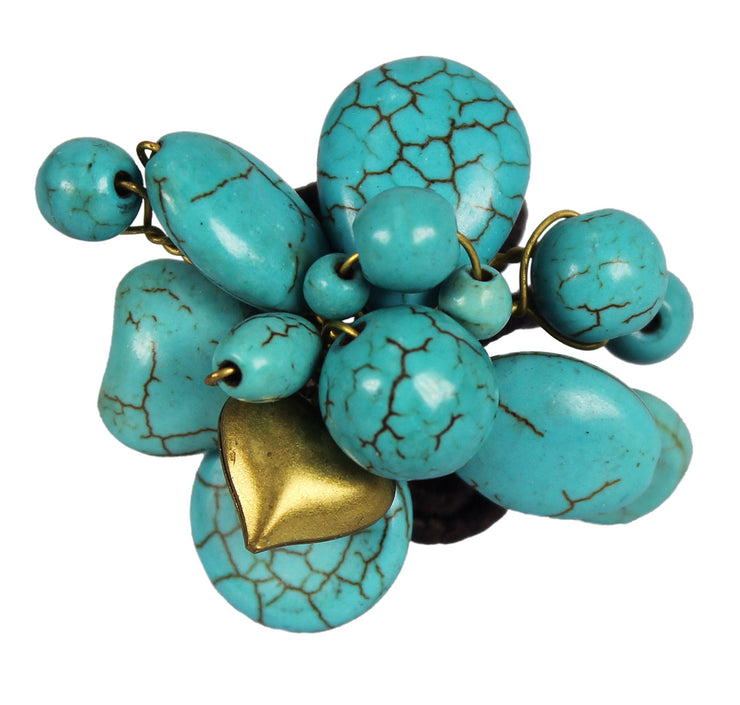 Gems Couture JewelryTurquoise Cluster Adjustable Brass Ring