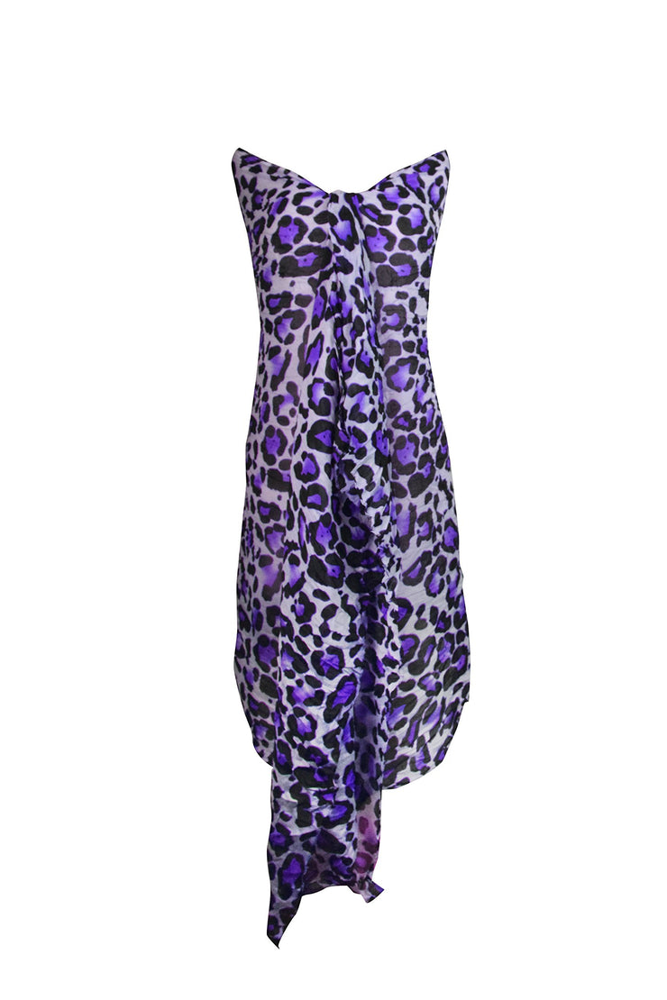 Purple Peach Couture Trendy Women's Leopard Animal Print Crinkle Scarf wrap